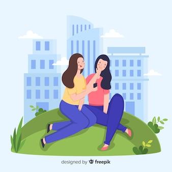 Młoda kobieta spędza czas razem