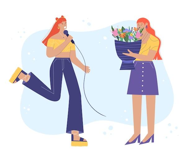 Młoda kobieta śpiewa do mikrofonu. kobieta daje przyjacielowi bukiet kwiatów. ilustracja w stylu kreskówki.