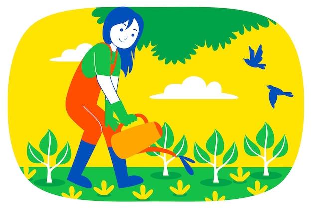 Młoda kobieta spłukiwać roślin w ogrodzie.