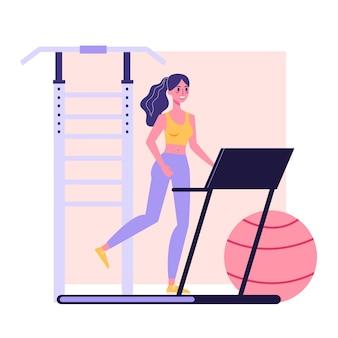 Młoda kobieta sprawny bieganie na bieżni, ćwiczenia sportowe. zdrowy i aktywny tryb życia. ilustracja w stylu kreskówki