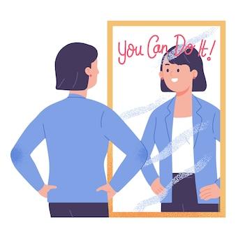 Młoda kobieta stojąca przed lustrem motywuje i przekonuje, że możesz to zrobić ilustracji wektorowych