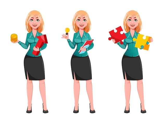 Młoda kobieta sukcesu w biznesie, zestaw trzech poz