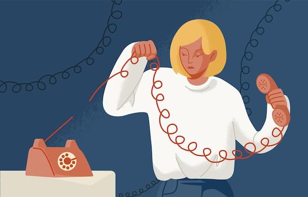 Młoda kobieta trzyma telefon z rozdartym drutem