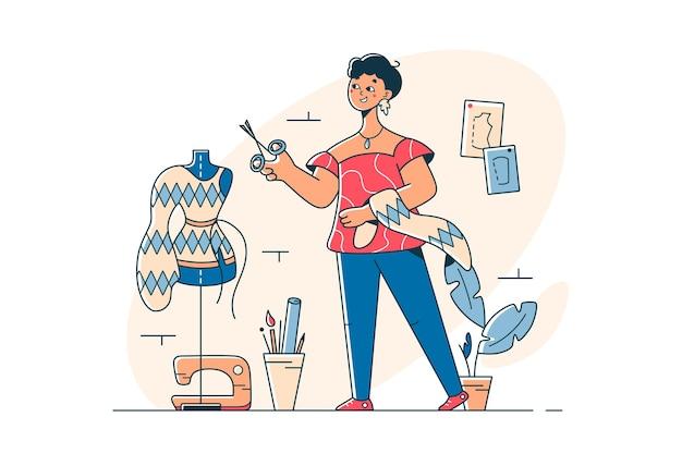 Młoda kobieta tworząca modne ubrania