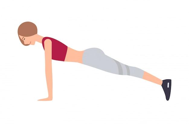 Młoda kobieta ubierał w odzieży sportowej wykonuje frontowego deski ćwiczeniu odizolowywającym. postać z kreskówki kobieta robi aerobik, pilates lub trening jogi. kolorowa ilustracja.
