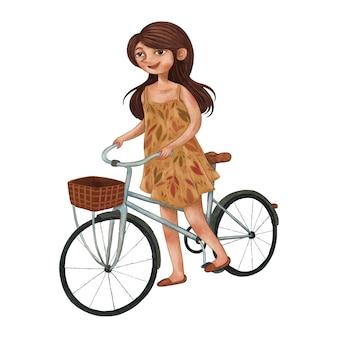 Młoda kobieta ubrana w sukienkę i jeździ na rowerze, ilustracja kolor ołówka