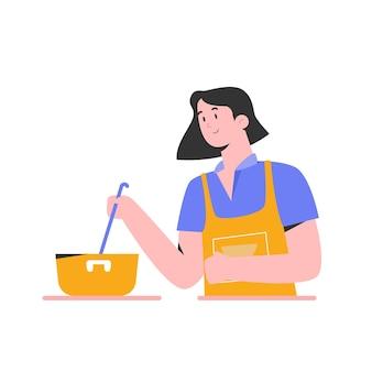 Młoda kobieta uczy się gotowania z ilustracją samouczka wideo