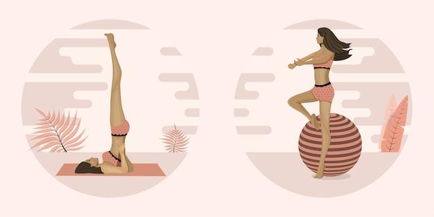 Młoda kobieta uprawia jogę lub pilates, wykonuje ćwiczenia. ilustracja.