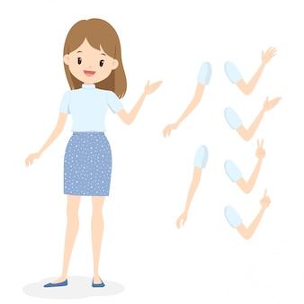 Młoda kobieta w biały golf i niebieska spódnica w kropki. płaskie kreskówka dziewczyna z różnymi pozami dłoni i ramion.