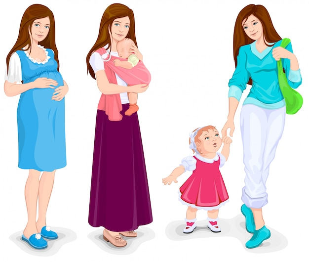 Młoda Kobieta W Ciąży Chodzenie Matki I Malucha Premium Wektorów