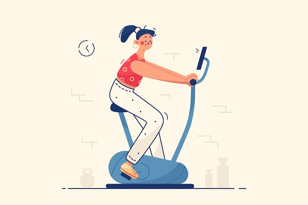 Młoda kobieta w siłowni ilustracji