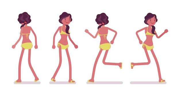 Młoda kobieta w stroju plaży latem, spacery i bieganie
