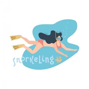 Młoda kobieta w swimsuit nurkowaniu pod morzem. projekt minimalizmu