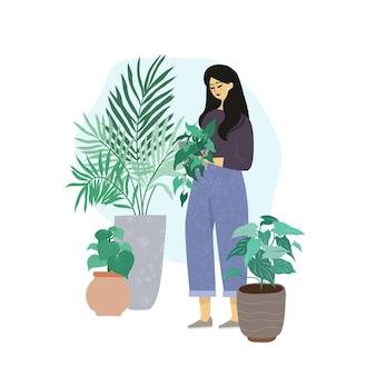 Młoda kobieta w teksturowanych dżinsach dba o rośliny domowe, modne wnętrze pokoju miejskiej dżungli, ręcznie rysowane płaska ilustracja.