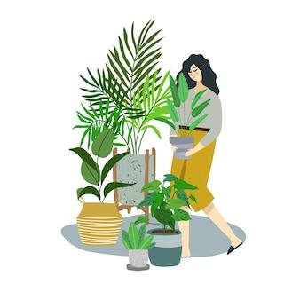 Młoda kobieta w żółtych cullotes dba o rośliny domowe, modne wnętrze pokoju miejskiej dżungli, ręcznie rysowane płaska ilustracja.