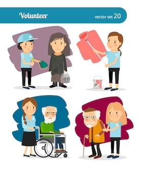 Młoda kobieta wolontariuszy znaków