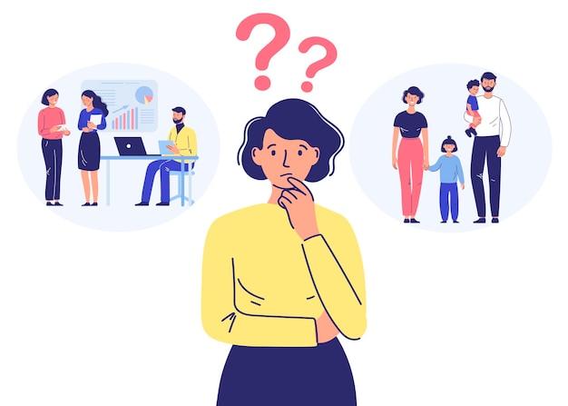Młoda kobieta wybiera między rodziną a karierą pytanie dotyczy równowagi między życiem a pracą