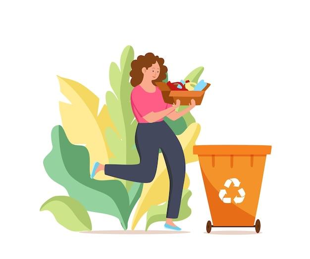 Młoda kobieta wyrzuca plastikowe śmieci do pojemników ilustracji wektorowych waste managementme