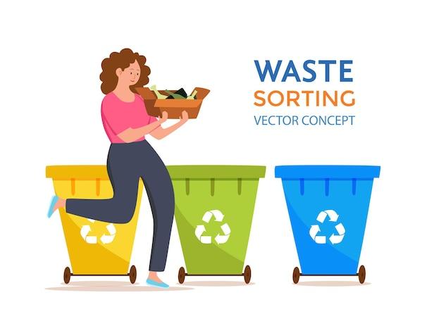 Młoda kobieta wyrzucanie szklanych śmieci do pojemników. koncepcja zarządzania odpadami z przyjazną dla środowiska dziewczyną sortującą odpady do różnych zbiorników