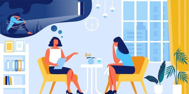 Młoda kobieta z depresją na spotkaniu psychologa.