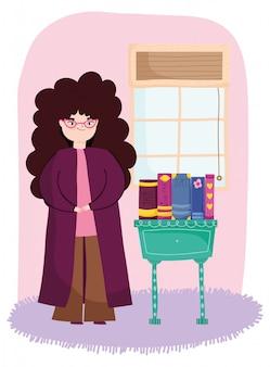 Młoda kobieta z długim kędzierzawym włosy w pokoju z meble i książek ilustracją, książkowy dzień