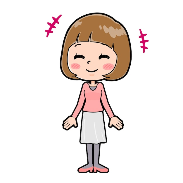 Młoda kobieta z gestem uśmiechu. postać z kreskówki.