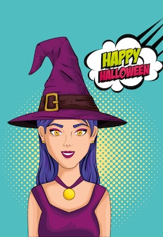 Młoda kobieta z kapeluszem w stylu pop-art czarownicy i chmury