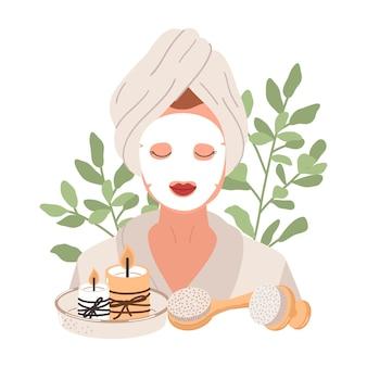 Młoda kobieta z maską na twarz i tropikalnymi liśćmi. pielęgnacja skóry, leczenie, relaks, domowe spa. rutyna pielęgnacyjna. ilustracja.