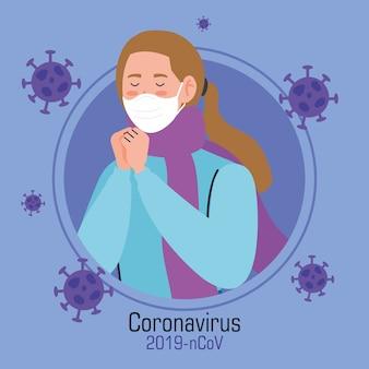 Młoda kobieta z maską twarzową chorą na koronawirusa covida 19
