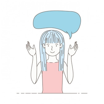 Młoda kobieta z mowy bąblu avatar charakter