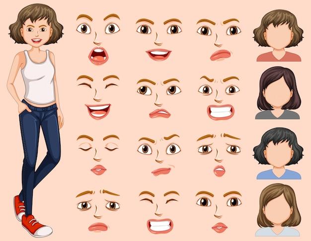Młoda kobieta z różnym wyrazem twarzy