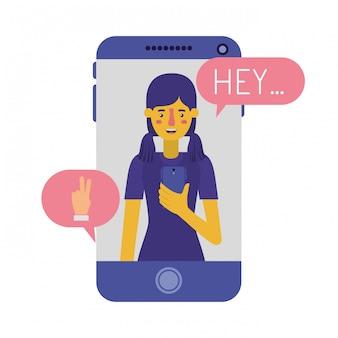 Młoda kobieta z smartphone i dymek