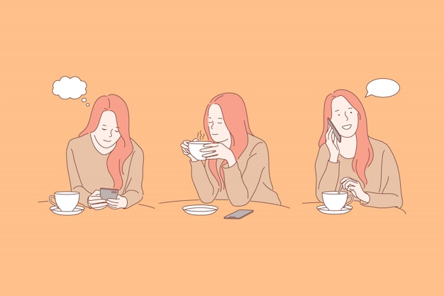 Młoda kobieta z smartphone i teacup, kawowej przerwy ilustracja