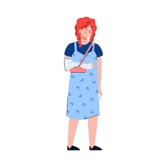 Młoda kobieta z urazem ręki cierpi. smutna dziewczyna ze złamaną, zabandażowaną ręką. płaskie wektor ilustracja kreskówka na białym tle.