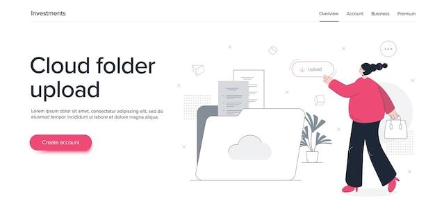 Młoda kobieta za pomocą płaskiej ilustracji usługi folderów w chmurze