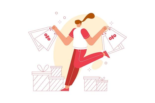 Młoda kobieta ze sceną ilustracji torbę na zakupy