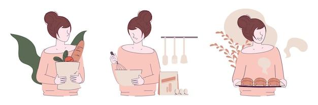 Młoda Kobieta Zostaje W Domu I Gotuje W Kuchni Darmowych Wektorów