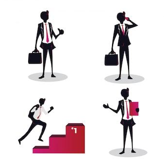 Młoda Kreatywnie Biznesmena Pojęcia Ilustracja Premium Wektorów