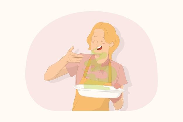 Młoda kucharz kucharz piekarz kobieta podniosła rękę w twarz koncepcja zapachu uczucia