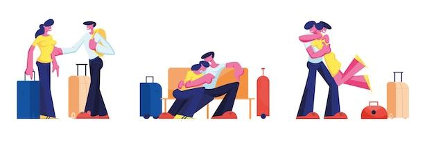 Młoda loving para podróży zestaw. mężczyzna i kobieta z bagażem, oczekiwanie na pokład na lotnisku, siedząc w terminalu. spotkanie chłopaka z dziewczyną z bagażem. małżonka podróż kreskówka płaskie wektor ilustracja
