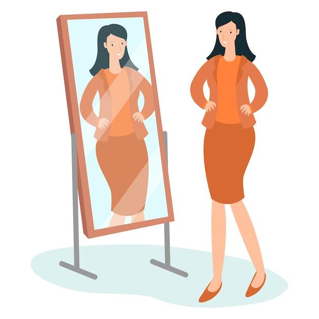 Młoda matka jest w lustrze przed wyjściem na przyjęcie w swojej ulubionej sukience