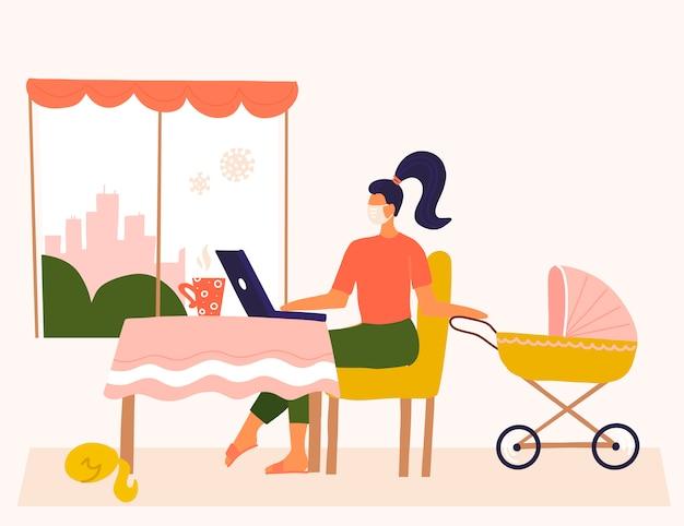 Młoda matka pracuje zdalnie w pobliżu wózka z dzieckiem. żeński freelancer pracuje lub studiuje na laptopie w domu. styl życia freelancer. pojęcie z kobietą na kwarantannie koronawirusa. płaska konstrukcja