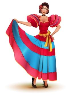 Młoda meksykańska kobieta w czerwonej sukience tańczy solo