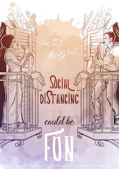 Młoda murzynka śpiewa i młody biały mężczyzna gra na saksofonie stojąc na balkonie. plakat wspierający dystans społeczny. styl szkic liniowy rysunek na tle akwareli