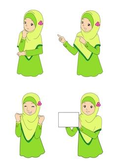 Młoda muzułmańska dziewczyna z wyrazami twarzy