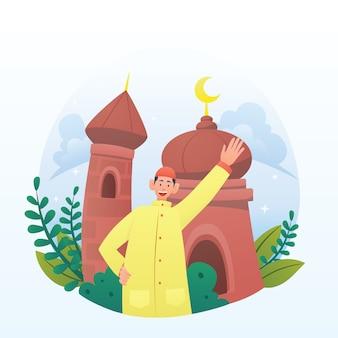 Młoda muzułmańska postać powitań ramadan ilustracja