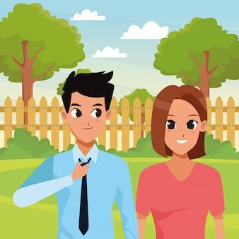 Młoda para dorosłych powitanie kreskówka
