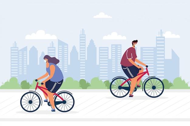 Młoda para jedzie na rowerze noszenie masek medycznych ilustracji
