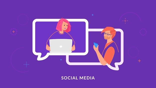Młoda para na czacie i sms-y razem w mediach społecznościowych za pomocą laptopa i smartfona. płaska linia ilustracji wektorowych ludzi w dymkach czatu, komunikacji i konferencji online na fioletowo