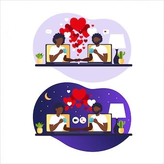 Młoda para na czacie online. relacje wirtualne i randki online oraz koncepcja sieci społecznościowych. randki w internecie. afrykański mężczyzna i kobieta w miłości. ilustracja w mieszkaniu.
